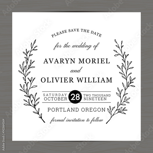 Modern Black And White Colors Wedding Invitation Save The Date Card