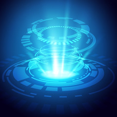 Abstract circle of technology, blue light and glow effect