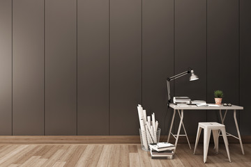 Vertical Grove line wall with modern working desk.