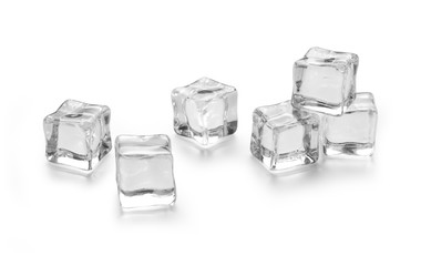 three ice cubes on white