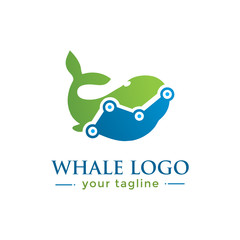 WHALE LOGO.  animal logo with finance concept