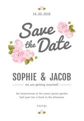 Watercolor invitation card, Wedding card set design template, Watercolor Element.
