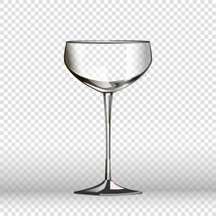Empty wine glass isolated on transparent background. Vector illustration