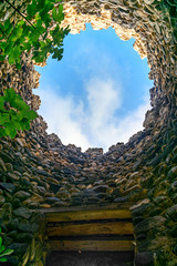 Looking at the sky through hole in tower. Sighnaghi city wall Georgia