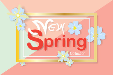 Spring sale background with beautiful colorful flower. Vector illustration template.banners.Wallpaper, invitation, posters, brochure, voucher discount.