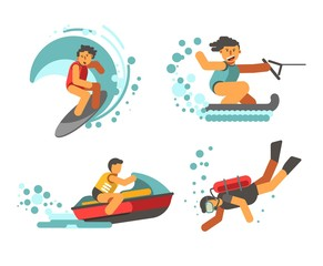 Summer water healthy activities vector poster on white background