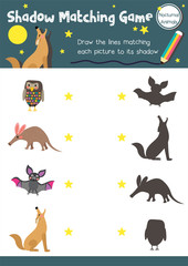 Shadow matching game of nocturnal animals for preschool kids activity worksheet layout in A4 colorful printable version. Vector Illustration.