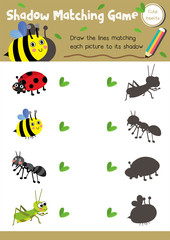 Shadow matching game of insect bug animals for preschool kids activity worksheet layout in A4 colorful printable version. Vector Illustration.