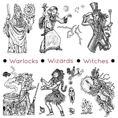 Graphic collection with hand drawn characters of warlocks, wizards and witches