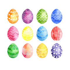 watercolor silhouettes of easter eggs