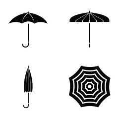 Vector black umbrella icon set.