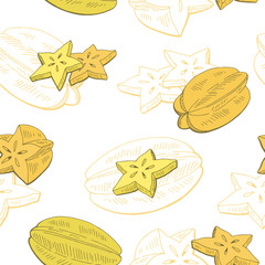 Carambola fruit graphic yellow color seamless pattern sketch illustration vector
