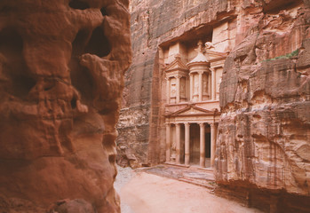 Petra - ancient city, view of Treasury. Jordan.