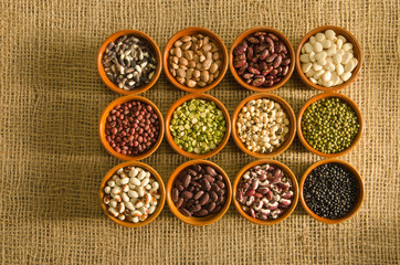 12 pottery containers with various types of pulse and legume seeds on a burlap background.