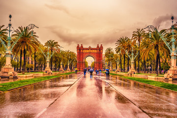 The Arc de Triomf, Arco de Triunfo in Spanish, a triumphal arc in the city of Barcelona, in Catalonia, Spain
