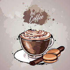 Hand drawn illustration of cup of coffee or hot chocolate