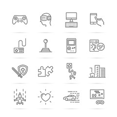 video game vector line icons
