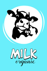 Cow. Milk and dairy products. Vector emblem.