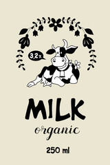 The cow in the frame of wildflowers. Organic dairy products. Monochrome vector  emblem.