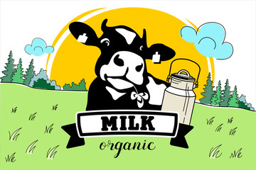 The cow in the meadow. Vector illustration. Dairy products, milk.