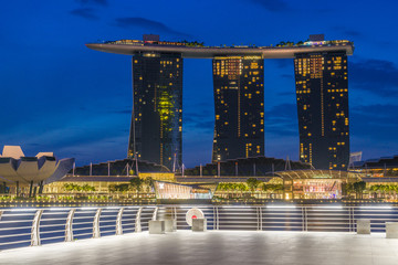 View Of Marina Bay sands at sunrise in Singapore