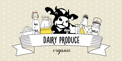 Vector illustration of dairy products and cow. Emblem organic dairy products.