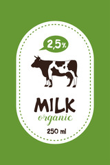 Vector label milk. Cow. Organic dairy products.