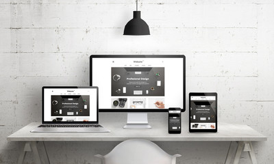 Creative deks scene for web design agency promotion. Modern, clean responsive web site promotion on different devices. Designer studio desk front view. Wall mural