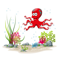 Illustration of an underwater landscape with squid and plants