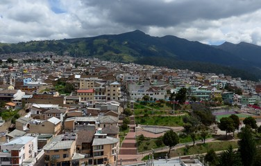 Suburbs of Quito and surrounding hills from atop of the Basilica church.