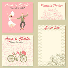 Set of wedding invitation cards with a floral pattern and a colorful illustration of a dancing couple. Templates