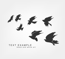 flying silhouettes of birds painted by hand