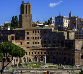 Overview from the Vittoriano in Rome. Trajan's Markets