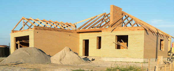building house in fields