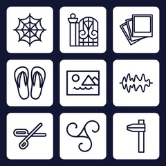 Set of 9 outline pattern icons