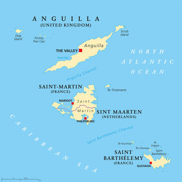 Anguilla, Saint-Martin, Sint Maarten and Saint Barthelemy political map. Islands in the Caribbean, part of Leeward Islands and Lesser Antilles. English labeling. Illustration. Vector.