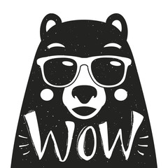 Vector illustration with stylish hipster bear in sunglasses.