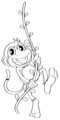Animal outline for monkey on vine