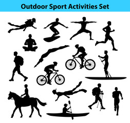 Outdoor Training Sport Activities. Male Silhouette.  Man Swimming, Trekking, Running, Cycling, Doing Yoga, Hiking, Diving, Kayaking etc