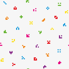 Multicolor abstract pixelated icons seamless pattern.