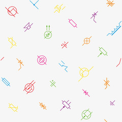 Electronics circuit components symbols seamless wallpaper pattern.
