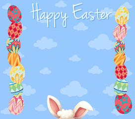 Easter card template with colorful eggs