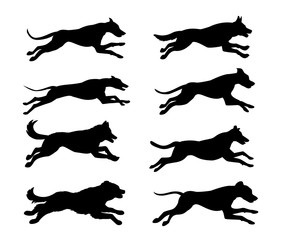 Jumping running dogs silhouettes set