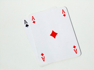 Two aces cards on white bacground