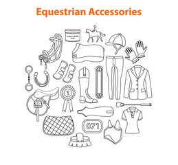 Equestrian equipment, accessories set in line art style. Horseback riding gear and tack