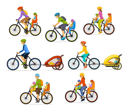 Family, Parents, Man Woman with their children, boy and girl, riding bikes. Safe kids seats and trolleys to travel cycling together vector illustration