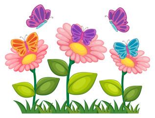Butterflies flying in flower garden