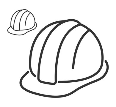 Construction safety helmet line style icon