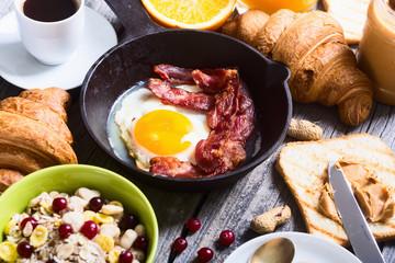 Breakfast including fried egg