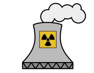 原子力発電所(マーク色、煙)